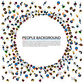 Large group of people in the shape of circle . Vector illustration