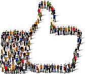 Large group of people in the shape of like sign. Vector illustration