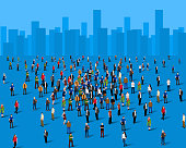 Large group of people over the city. Business concept. Vector illustration