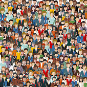 Large group of people. Seamless background. Business people, teamwork concept. Flat vector illustration