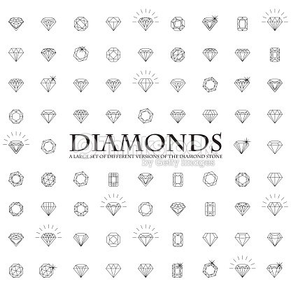 Large number of versions of a diamond : stock vector