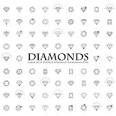 Diamonds Icons set, design element, symbol of the success of wealth and fameDiamonds Icons set, design element, symbol of the success of wealth and fame.