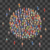 Large people crowd in circle shape. Society, people community isolated on transparent background. Vector illustration