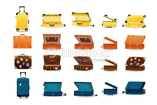 Large set of plastic, leather and metal travel suitcases : stock vector