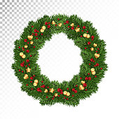 Cute Christmas decorations. Wreath of twigs Christmas trees / pine, red berries and golden bells and tinsel. Vector. Eps10.