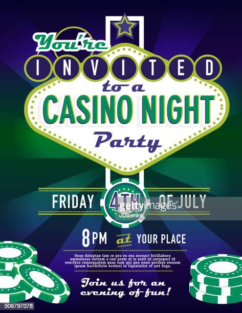 Las Vegas sign VIP party Casino night invitation design template