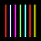 Laser beams vector  set isolated on black  background.