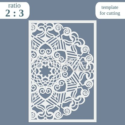 paper openwork greeting card template for cutting lace invitation lasercut metal panel wood carving greetings for christmas or new year vector
