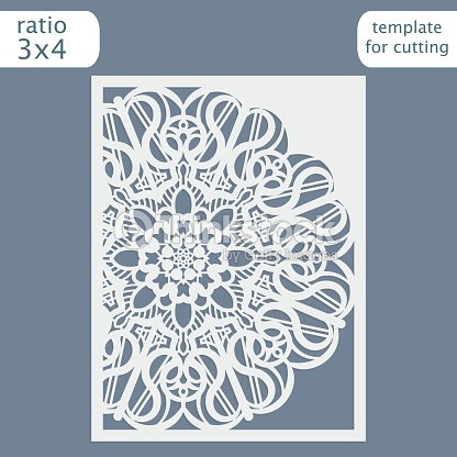 cut out the paper card with lace pattern greeting card for cutting plotter congratulation to christmas or new year vector