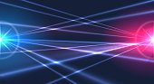 Laser lights background. Abstract light rays nightclub party backdrop, lasers effects show graphic in dark night sky