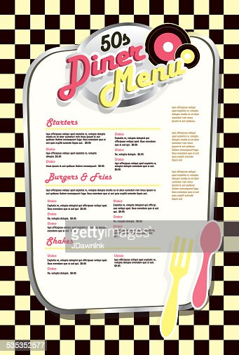 Late Night Retro 50s Diner Menu Layout Yellow Check Vector