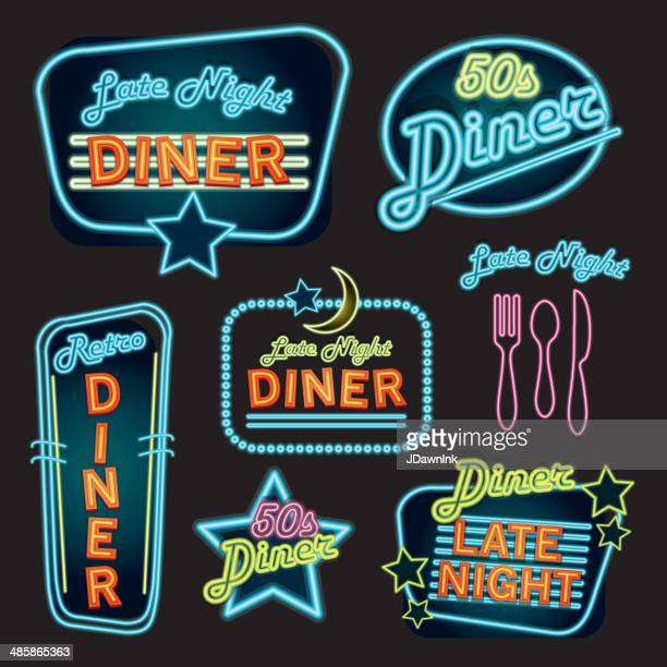 Late night retro Diner neon sign set