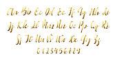 Latin alphabet golen. Letter font style ribbon.