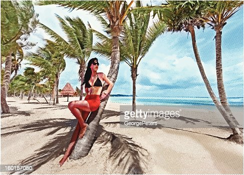 Latin American Woman Sunbathing On Beautiful Beach : Vector Art