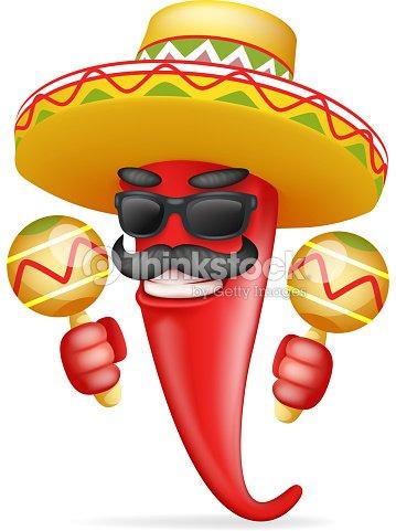 Maraca Latina sombrero mexicano rojo ají fresco caliente gafas bigote feliz  carácter realista 3d dibujos animados diseño vector ilustración 2a5dd3db295