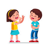 Laughing boy and girl kids showing tongues joking and teasing making silly grimace. Kids playing laughing holding belly. Teasing children cartoon characters having fun together. Flat vector illustrati