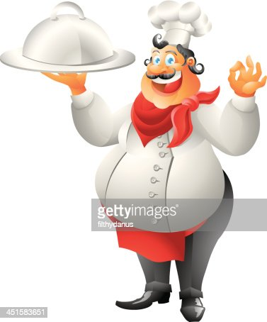 laughing chef with plate isolated : Vector Art