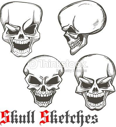 laughing skulls sketches for tattoo design vector art thinkstock. Black Bedroom Furniture Sets. Home Design Ideas
