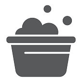 Laundry bucket glyph icon, clean and wash, basin with foam sign, vector graphics, a solid pattern on a white background, eps 10.