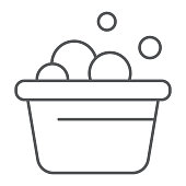 Laundry bucket thin line icon, clean and wash, basin with foam sign, vector graphics, a linear pattern on a white background, eps 10.