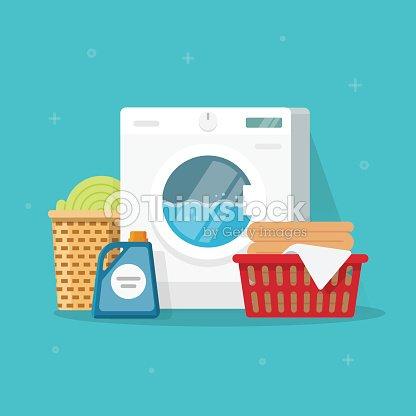 Waschmaschine Mit Waschen Kleidung Und Bettwäsche Vektorillustration
