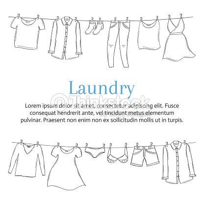 Wäsche Service Banner Vorlage Mit Männlichen Und Weiblichen Kleidung ...