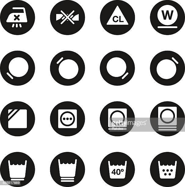 Laundry Sign Icons Set 2 - Black Circle Series