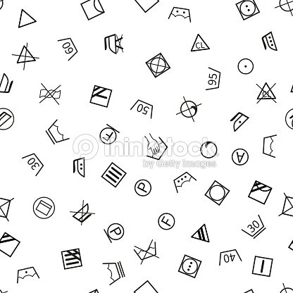 Laundry Symbols On White Background Seamless Pattern Vector Art