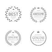 Laurel wreath icons. Best team, Awesome quality, Genuine quality, Genuine brand