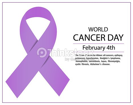 Lavender Ribbon Awareness For Cancers February 4th World Cancer Day