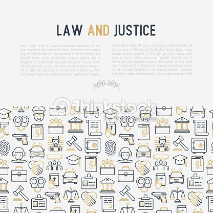 Law And Justice Concept With Thin Line Icons Judge Policeman Lawyer