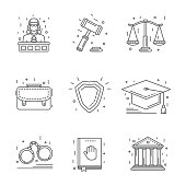 Law and justice icon flat and line modern style over white.
