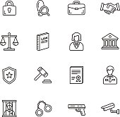 Law, justice and crime thin line icons