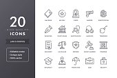 Law line icons. Vector justice and legal icon set with editable stroke