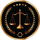 Illustration of a design for law, lawyers, or law firms that could be used as a logo or seal in striking reflective gold and black. Includes scale of justice, laurel and gold stars.