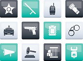 Law, order, police and crime icons over color background - vector icon set