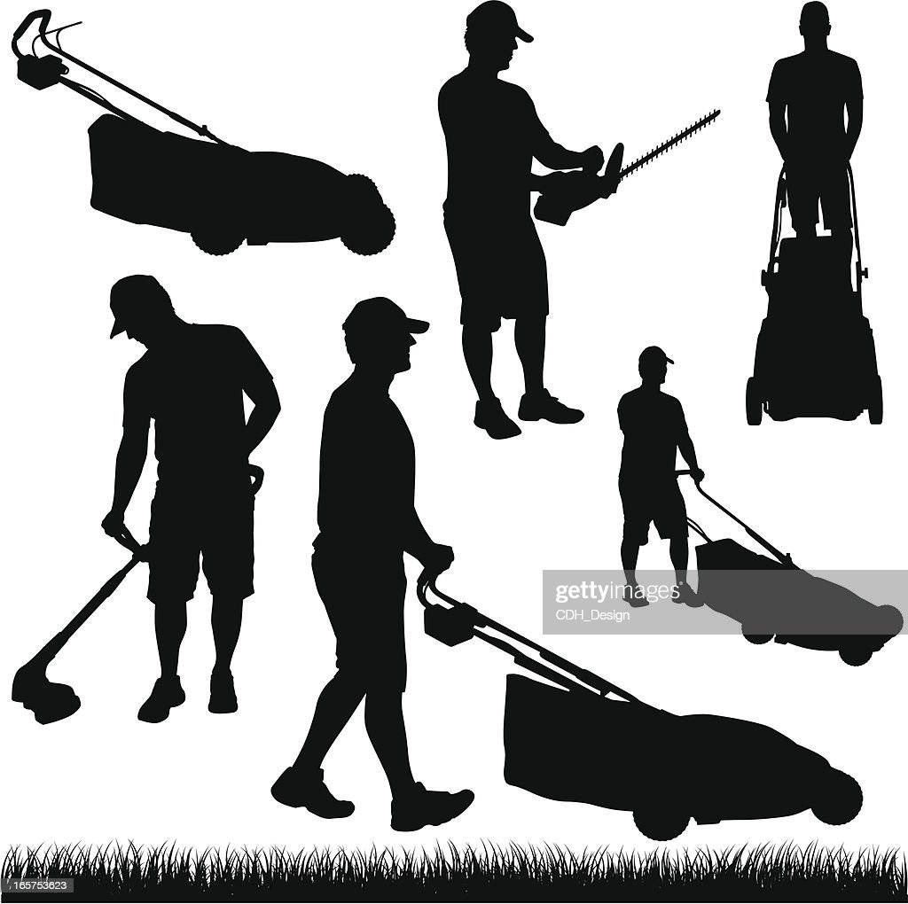 The gallery for gt lawn mowing silhouette for Lawn care vector