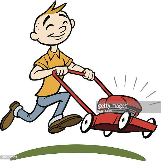 Cartoon Man On Mower : Lawn mower stock illustrations and cartoons getty images