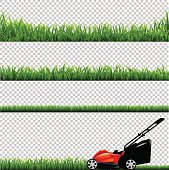 Lawnmower With Green Grass. Vector Illustration EPS10. Contains transparency.