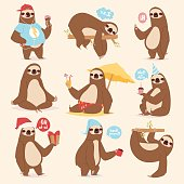 Laziness sloth lazy-bones sluggard animal character different pose like human cute lazy cartoon kawaii and slow down wild jungle mammal flat design vector illustration. Cheerful wildlife forest happy
