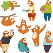 Laziness sloth animal character different human pose lazy cartoon kawaii wild jungle mammal flat design vector illustration. Cheerful wildlife forest art happy zoo people life role