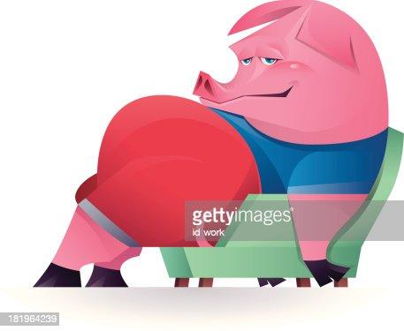 Lazy Pig Vector Art