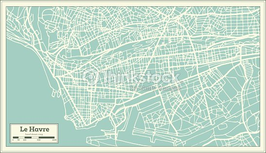 Map Of France Le Havre.Le Havre France City Map In Retro Style Outline Map Vector Art