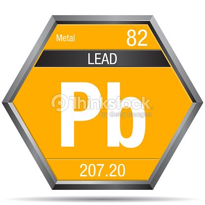 Lead Symbol In The Form Of A Hexagon With A Metallic Frame Element