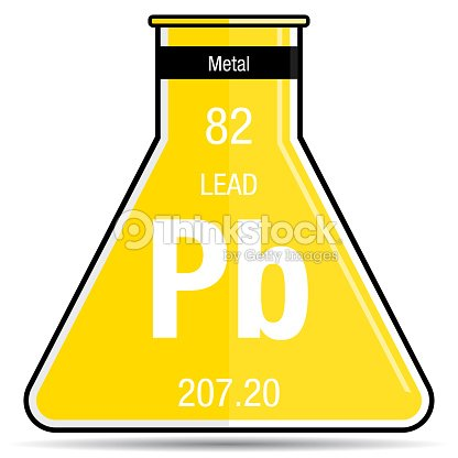 Lead Symbol On Chemical Flask Element Number 82 Of The Periodic