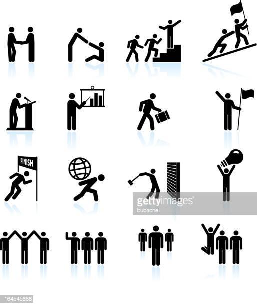 Leadership black & white royalty free vector icon set