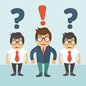 Leadership concept. People standing near business leader with question marks above their heads. Business leader standing with red exclamation mark above his head. Flat vector illustration
