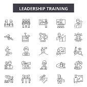 Leadership training line icons, signs set, vector. Leadership training outline concept illustration: training,leadership,business,people,team,teamwork,manager,management