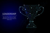 Vector polygonal art style winner cup. Award cup low poly wireframe mesh with scattered particles and light effects on dark blue background. Leadership business concept poster banner design template.