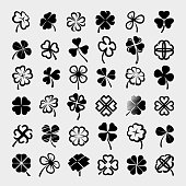 Collection leaf clover set, edit size and color, vector